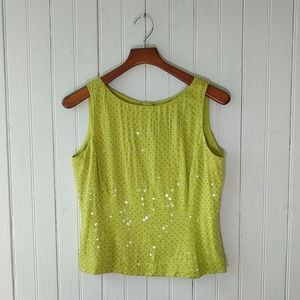 Dana Buchman lime green silk sequin sleeveless 8